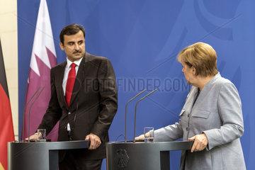 Tamin bin Hamad Al Thani + Merkel