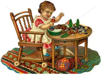 Kind beim Spielen  Holzspielzeug  1885