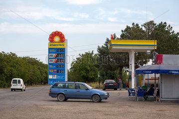 Republik Moldau  Rompetrol-Tankstelle in der Naehe zur ukrainischen Grenze