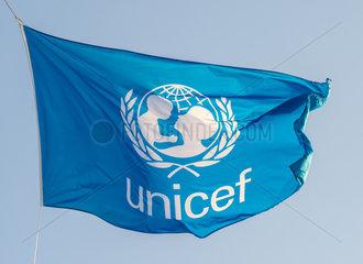 Genua  Italien  die Flagge von Unicef