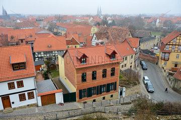 Quedlinburg  Deutschland  Blick ueber die Altstadt bei truebem Wetter