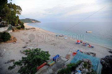 Dhermi  Albanien  Blick auf den Strand