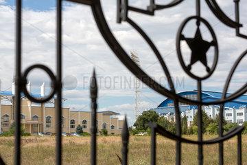 Tiraspol  Republik Moldau  Sheriffstern am Zaun des Sheriff-Komplex