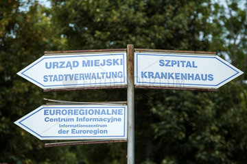 Gubin  Polen  zweisprachige Hinweisschilder