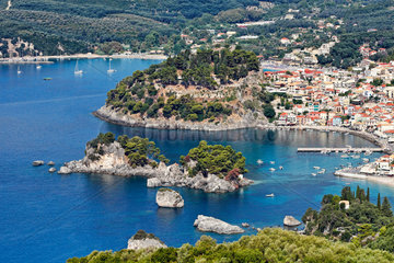 Aerial shot of Parga  Greece