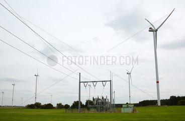 Willmersdorf  Deutschland  Umspannwerk der Windenergieanlagen eines Windparks