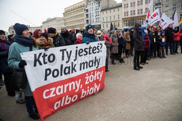 Posen  Polen  Demonstration von Oppositionellen gegen Rassismus