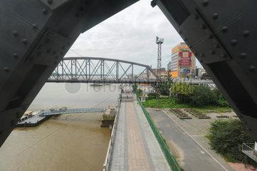 Sinuiju  Nordkorea  Blick auf den Yalu-Fluss