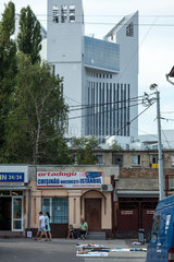 Chisinau  Republik Moldau  Bahnhofsvorplatz mit einem Reisebuero