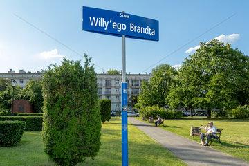 Warschau  Polen  der Willy-Brandt-Platz