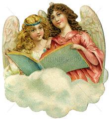 zwei Engel auf Wolke  1900