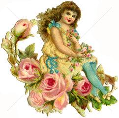 Maedchen mit Blumen  romantisch  1893