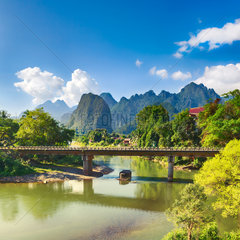 Amazing landscape of river among mountains. Laos.