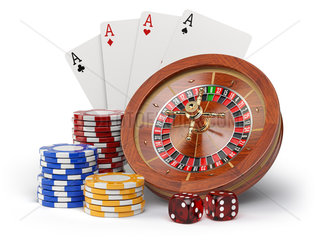 Casino o gambling concept. Roulette  casino chips  cards and dice isolated on white background