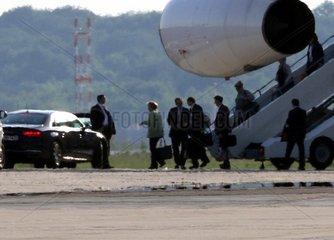 Angela Merkel landet mit der Flugbereitschaft