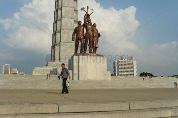 Pjoengjang  Nordkorea  das Monument der Chuche-Ideologie