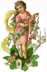 Maedchen mit Blumen und Tauben  Poesiebild  1893