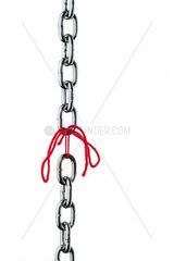 Defective steel chain is held together by a thread