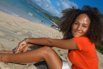St. Georges  Grenada  Einheimische am Strand