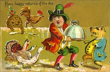 witzige Geburtstagskarte  1890