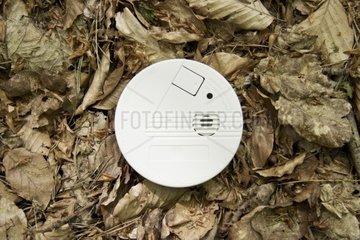 Rauchmelder im Wald auf ausgetrocknetem Boden