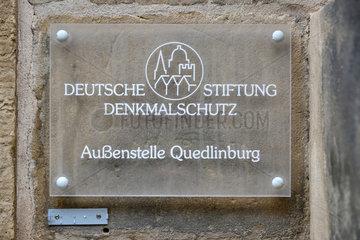 Quedlinburg  Deutschland  Schild Deutsche Stiftung Denkmalschutz