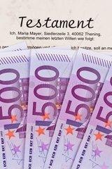 Viele Euro Geldscheine und Testament Nachlass und Erbschaft