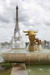 Paris  Ile-de-France  Frankreich - Blick von der Brunnenanlage im Jardins du Trocadéro auf den Eiffelturm  tour eiffel  dem Hauptwahrzeichen der franzoesischen Hauptstadt.
