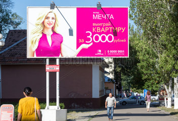 Tiraspol  Republik Moldau  Werbeplakat der Hypothekenbank