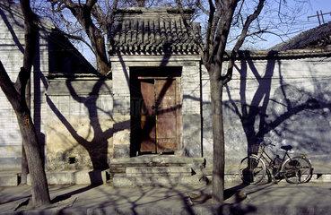 Peking  China  Baeume werfen Schatten auf Mauern