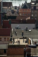 Thorn  Polen  Handwerker auf einem Dach