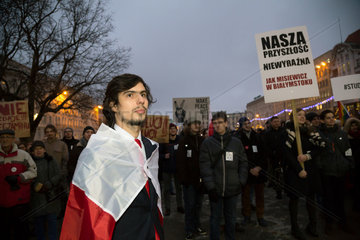 Posen  Polen  Demonstration von Studenten gegen die Politik der Gleichschaltung