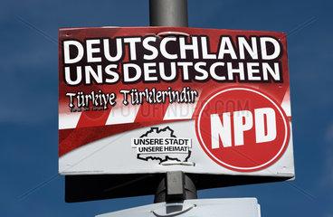 Berlin  Deutschland  Wahlplakat der NPD