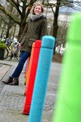 Oldenburg  Deutschland  Strickkunst im Strassenbild