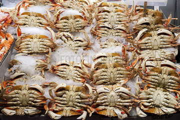 Fresh crabs on ice in market