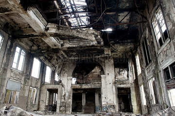 Interior of abandoned building destroyed by fire