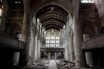 City Methodist Church  an abandoned gothic church in Gary  Indiana  USA