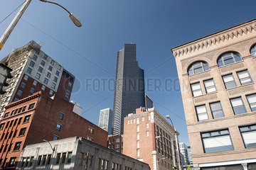 Columbia Center and neighboring buildings  Seattle  Washington  USA