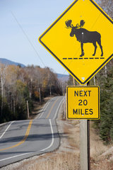 Moose crossing sign along highway