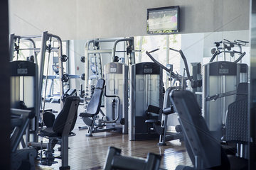 Empty weight room in health club