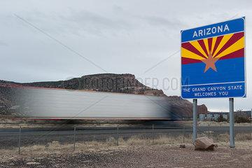 Arizona welcome sign along highway in Arizona  USA