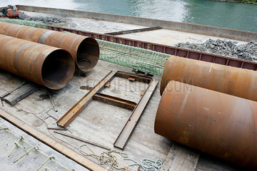 Large pipes at construction site