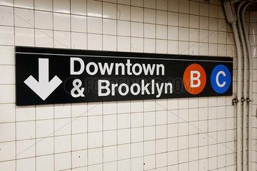 Sign in subway station  Manhattan  New York City  New York  USA