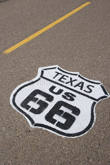 Road marking for the historic Route 66 in Texas  USA