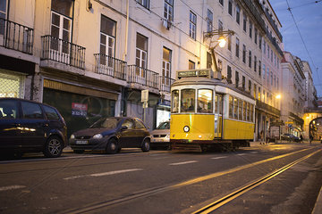 Tram in the street of Lisbon  Portugal
