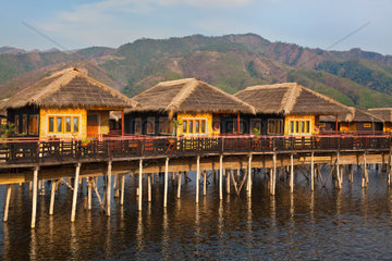 SKY LAKE RESORT consists of individual bungalos built on stilts on INLE LAKE  MYANMAR