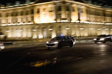 Emergency medical car driving at night