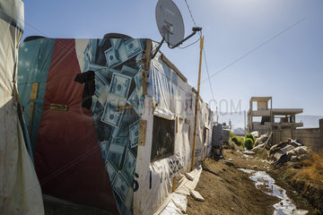 Unterkunft in einem Fluechtlingscamp in der Bekaa-Ebene