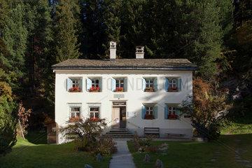 Sils Maria  Schweiz  das Nietzsche Haus in dem Dorf im Oberengadin