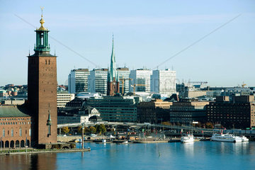 Sweden  Stockholm  Kungsholmen Island  view of waterfront and town hall
